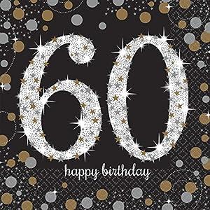Amscan - Chispeante 60Cumpleaños Celebración, 16Servilletas, color negro y dorado