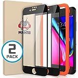MANTO 2-pack skärmskydd för iPhone 8 Plus 7 Plus full 6 Plus 6S Plus täckning härdat glas skärmskydd film kant till kant skyd