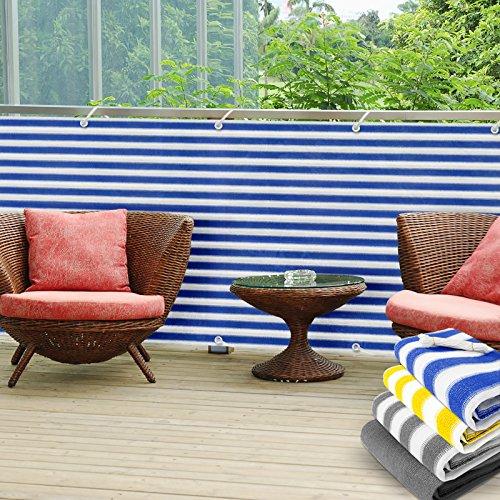 Balkon Sichtschutz UV-Schutz | 90x500cm | wetterbeständiges und pflegeleichtes HDPE-Spezialgewebe | blau-weiß gestreift