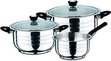 Bergner Zurich - Set di pentole e padelle acciaio inossidabile vetro coperchio