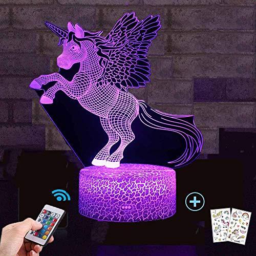 Einhorn Geschenk Einhorn Nachtlicht für Kinder, 3D Licht Lampe 7 Farben ändern mit Remote Urlaub und Geburtstagsgeschenke Ideen für Kinder (Valentine Dekorationen Ideen)