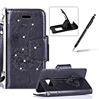 Strap Case for Samsung Galaxy S7 Edge,Wallet Leather Case for Samsung Galaxy S7 Edge,Herzzer Luxury Elegant Diamond Black Dandelion Design Magnetic Purse Folio Smart Stand Cover with Card Cash Slot Soft TPU Inner Case for Samsung Galaxy S7 Edge + 1 x Free