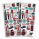 Unbekannt Toga Destination London 60Stück Aufkleber, Papier, Rot/Blau/Schwarz, 15x 32,5x 0,2cm