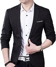 Creative Men's Slim Fit Blazer (BLACK1-M, Black, Medium)