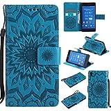 BoxTii Sony Xperia Z3 Hülle [mit Frei Panzerglas Displayschutzfolie], Sony Xperia Z3 Schutzhülle mit Kartenfächern, Premium Lederhülle für Sony Xperia Z3 (#6 Blau)