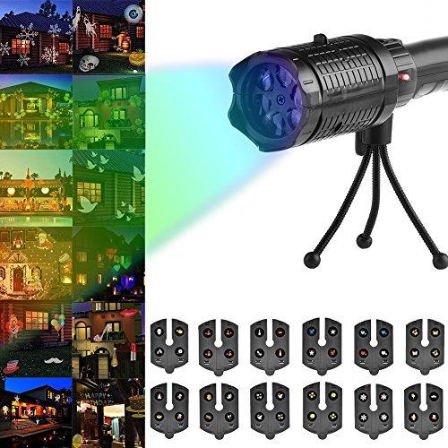 Bloomma Projektor Licht, LED-Projektor Taschenlampe mit 12 Mustern Folien und Stativ für Halloween,Weihnachten,Ostern,Geburtstag,Home Party Holiday Decor
