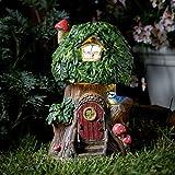 niedliche Elfen-, Märchen- und Fabelwelt Gartendeko – ELVEDON-Kollektion – mit solarbetriebener automatischer Beleuchtung, von Festive Lights (Baum-Haus)