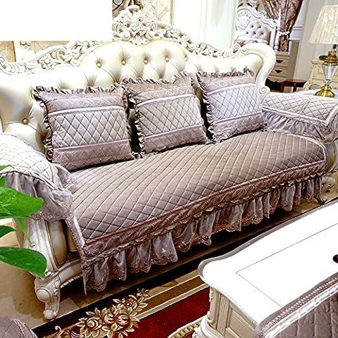 Serviette De Canapé/Canapé-lit De Style Européen/Épaissir,Ensemble De Canapé En Daim/Luxueux,Style Américain,Housse En Cuir Canapé/Coussin Antidérapant-B 85x85cm(33x33inch)