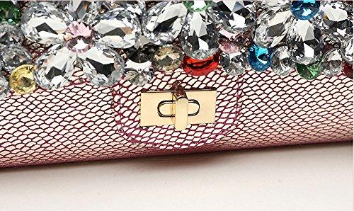 Handtasche, Damenhandtasche, Diamant-besetzte Mode Großraum-Bankett-Ledertasche, koreanisches Abendessen-Paket ( Farbe : Rose red ) Beige