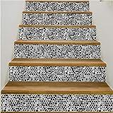 6 Stücke Schwarz Grau Weiß Mosaik Muster Treppen Aufkleber Fliesenmuster Für Zimmer Treppen Dekoration Wohnkultur