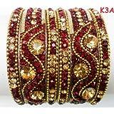 Tyagi Craft Indian Bollywood Bridal Designer Crystal Asian Jewellery Maroon Bangles Kada Bracelets