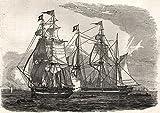 Segeln der Hudson 's Bay Company 's Schiffe, von fährverbindung Gravesend. Kent–1845–Old Print–Antiker Druck–Vintage print–bedruckt Prints von Kent