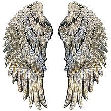 Parche con forma de alas bordado con lentejuelas para planchar a la ropa, 1 par