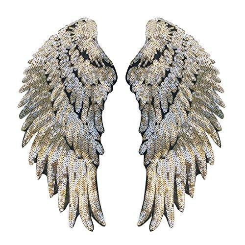 Parche forma alas bordado lentejuelas planchar