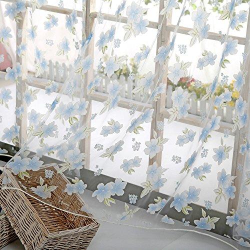VorhäNge Blumenmuster Voile Transparenter Gardine Landhaus Dekorative Fenster TüR FüR Wohnzimmer Schlafzimmer VorhäNge Kinderzimmer Wilde Blumen Dekoschal Verdunkelungsvorhang