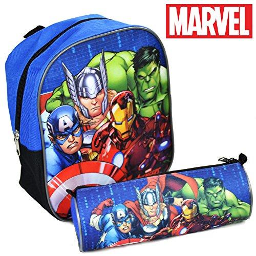 Zaino Zainetto Asilo Marvel Avengers con Astuccio Tombolino Zip Kit Super eroi Originale per Bambini Scuola 2017