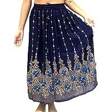 Dancers World, gonna lunga indiana da donna con paillette, stile hippy gitano, gonne per danza del ventre, Navy Blue