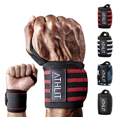ATHLIT Handgelenk Bandagen (45cm) 2er Set + Gratis Tasche - Sport Handgelenkbandage [Wrist Wraps] für Crossfit, Kraftsport, Bodybuilding & Fitness - 2 Jahre Gewährleistung - Echte Camo Mädchen Tragen