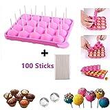 Moules à Lollipop Bonbon Bac à Glaçons Plaque en silicone pour Faire Cake Pop Gâteaux Pâtisserie 20 Moules + 100 Bâtonnets-Rose