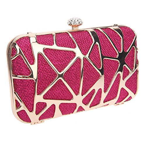 Bonjanvye Special Water Cube Box Evening Clutches Purses for Girls Silver Fuchsia