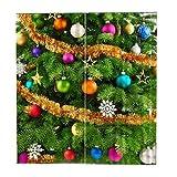 Tubayia 2pcs Türgardine Vorhänge Weihnachtsthema mit S Haken Weihnachtsdeko Gardine Jalousien
