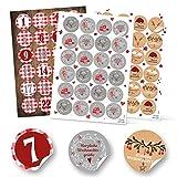 Weihnachtsaufkleber-Set: 24 Adventskalender-Zahlen KARIERT + 48 grau weiß rot natur Geschenkaufkleber Aufkleber FROHE WEIHNACHTEN Verpackung Geschenk-Verpackung weihnachtlich