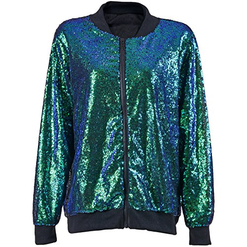 Neue Sexy Paillette Verzierte Bomber Jacke Festival Clubbing Party Disco 70S Jacke Coat Funkeln Sparkle Shiny Lange Hülse Damen Top (Green...