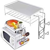 Bakaji Étagère pour four à micro-ondes Organiseur avec étagère supérieure pour accessoires de cuisine Support en métal et pla
