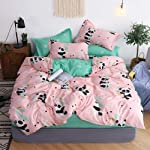yjoyce Bedding Panda Print Set 3/4 pieces of Luxury Animal Prints Including Bed Linen Quilt Cover