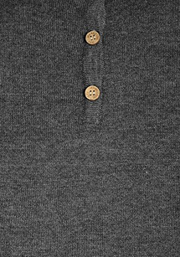 INDICODE Donte Herren Strickpullover Granddad Pullover Grey Mix (914)