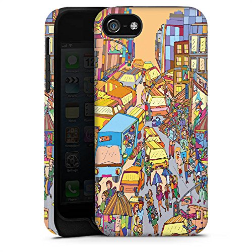 Apple iPhone X Silikon Hülle Case Schutzhülle New York Bunt Stadt Tough Case matt