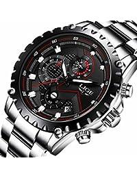 Herren-Armbanduhr, Edelstahl, schwarz, multifunktionale Luxusuhr für den Alltag, Sport-Quarzuhr, wasserdicht bis 30 m, modisch