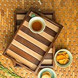 #4: Wood Art Store Handcrafted Serving Trays In Sheesham Wood (Set Of 2) - Breakfast Serving Trays Wooden Decorative Trays Gift Item