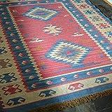 Rugsite groß, Blau, Elfenbein und Rose Kelim handgeknotet 100% Wolle Teppich 150x 215cm