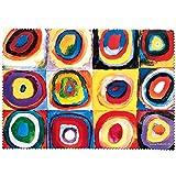 Fridolin 18853 Kandinsky cuadrados círculos concéntricos y paño de limpieza para gafas muselina, 18 x 12,5 x 1 cm