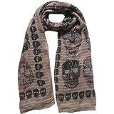 Fazzoletto Foulard, sciarpa stampata con teschio, 180 x 90 cm, sfondo marrone chiaro