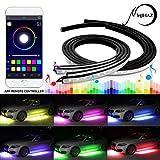 Mihaz 4pcs LED RGB Glow unter dem Auto Lichter Streifen Verbesserte Auto Neon Unterboden Light Kit mit Smart-APP-Steuerung, Sound aktiviert Underglow Lighting Kit Funktion Laufen RGB Farben Streifen Atmosphäre Lichter