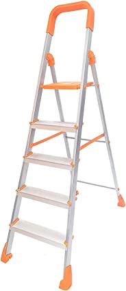 Happer Premium Foldable Aluminium Step Ladder, Clamber Pro, 5 Steps (Orange & Satin)