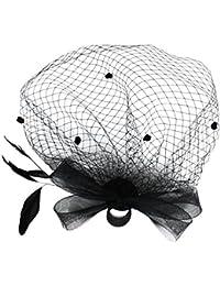 Andux Cerchietto con piume e veletta per Halloween Cocktail Cerimonia  WSTS-01 fd1f0e931b03