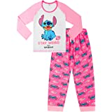 Disney Lilo and Stitch Stay Weird Pink White Long Ladies Pyjamas Pjs