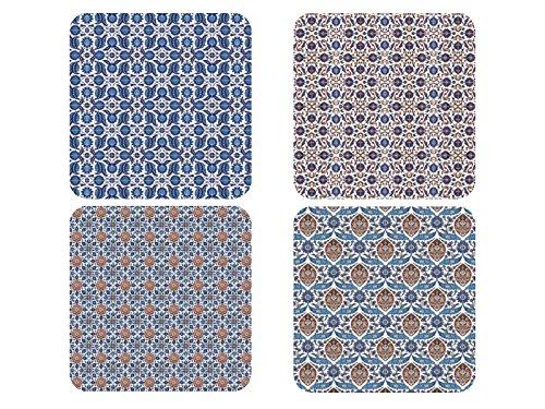rsetzer GREECE Muster Kacheln Glasuntersetzer aus Holz Deko ()