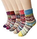 Little Hand Damen & Mädchen Weihnachts Wollsocken Wintersocken Bunte Dicke Warme Socken 5 Pärchen (One Size, type01)