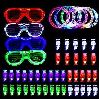 AUSHEN 50 Pcs Led Light Up Toy Glow, 40 LED Finger Lights, 6 LED Flashing Rings Bubble Bracelets and 4 LED Glasses Flashing Slotted Shades Glasses Party Favors Supplies Gift Decorations