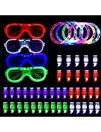Hisome Pulseras Luminosas, 50 PCS favorece la fiesta de brillar intensamente, ilumina los juguetes Brillan en la fiesta oscura con 40 luces LED para dedo, 6 pulseras y 4 fundas ranuradas Gafas