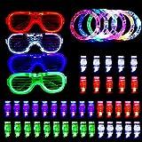 AUSHEN 50 PCS Knicklichter Party Set, Leuchten Spielzeug Glow in The Dark Party Supplies mit 40 LED-Finger-Leuchten, 6 Armbänder und 4 blinkenden Slotted Shades Gläser