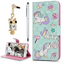For Samsung Galaxy S6 Case, YOKIRIN 3D PU Leather Magnetic Adsorption Folio Inner Soft TPU with Card Slots Kickstand Flip Wallet Case (with Dust Plug & Stylus Pen), Unicorn