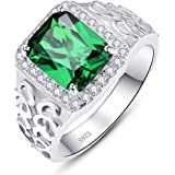 BONLAVIE Created Emerald Rings for Men 925 Sterling Silver Men's Wedding Engagement Rings 8x10mm Sapphire Emerald Cut CZ Band