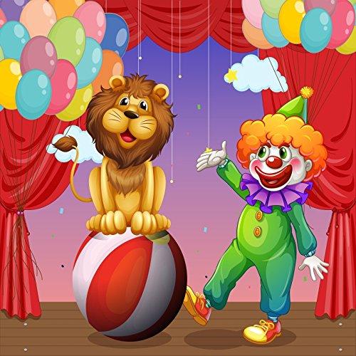Kulisse Clown (yongfoto 2,5x 2,5m Circus Hintergrund Cartoon Zoo Clown Löwe Ball Luftballons rot Vorhang Hintergründe für die Fotografie Jungen Kids Happy Birthday Vinyl Foto Hintergrund Studio Requisiten)