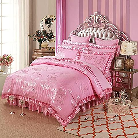 MeMoreCool Top Grade ricamo di nozze stile europeo Luxury 100% raso di cotone, copripiumino, Jacquard Gonna, copripiumino, 4pc, full, colore: rosso, Cotone, pink1, Completo