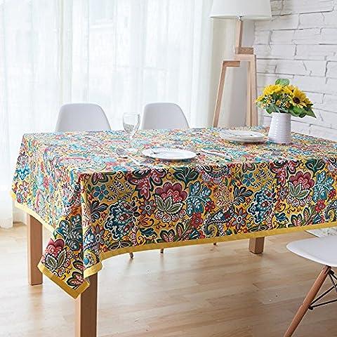 memorecool exotique de style floral design Totem Motif Table rectangulaire avec bordure jaune Chiffon anti-poussière multifonction dining-table Housse en tissu 100% coton Tissu Art 119,4x 119,4cm, Coton, multi color1, 55 inch by 55 inch